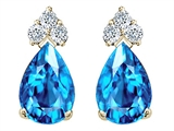 Tommaso Design Pear Shape 8x6mm Genuine Blue Topaz and Diamond Earrings