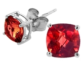 Tommaso Design Cushion Square Genuine Garnet Earrings