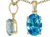 Tommaso Design™ Genuine Oval 8x6mm Blue Topaz Pendant