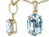 Tommaso Design™ Oval 8x6mm Genuine Aquamarine Pendant style: 23575