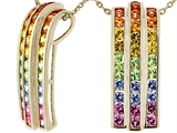 Tommaso Design™ 1.2 inch long Rainbow Sapphire Pendant with 34 Genuine Multi Color Sapphires