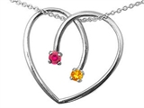 Tommaso Design Heart Shape 2 Stone Mothers Pendant