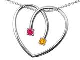 Tommaso Design™ Heart Shape 2 Stone Mothers Pendant style: 23654