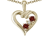Tommaso Design Round 3 mm Genuine Garnet Heart Pendant