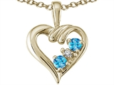 Tommaso Design™ Genuine Heart Shaped Blue Topaz Pendant style: 23683