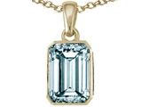 Tommaso Design™ Emerald Cut 8x6mm Genuine Aquamarine Pendant