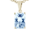 Tommaso Design 8x6mm Emerald Cut Genuine Aquamarine Pendant