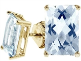 Tommaso Design™ Genuine 8x6 Rare European Checkerboard Emerald Cut Aquamarine Earrings