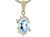 Tommaso Design Genuine Oval European Cut Aquamarine Pendant
