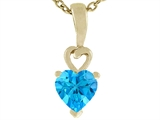 Tommaso Design Heart Shape Genuine Blue Topaz Pendant