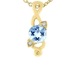Tommaso Design™ Genuine Round Brilliant Aquamarine Pendant