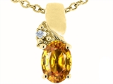 Tommaso Design™ Genuine Oval Citrine Pendant