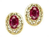 Tommaso Design™ Genuine Oval Ruby Filigree Earrings