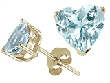 Tommaso Design Genuine 6mm Heart Shape Aquamarine Earring Studs