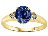 Tommaso Design™ 7mm Round Created Sapphire and Diamond Ring