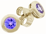 Tommaso Design™ Round 3mm Genuine Tanzanite Earrings
