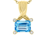 Tommaso Design Genuine Emerald Cut Blue Topaz Pendant