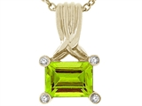Tommaso Design Genuine Emerald Cut Peridot Pendant