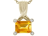 Tommaso Design™ Genuine Emerald Cut Citrine Pendant style: 23785