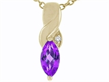 Tommaso Design Genuine Marquee Cut Amethyst and Diamond Pendant