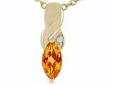 Tommaso Design Genuine Marquee Cut Citrine and Diamond Pendant