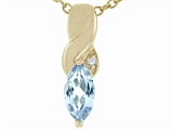 Tommaso Design™ Genuine Marquee Cut Aquamarine and Diamond Pendant style: 23804
