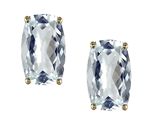 Tommaso Design™ Checkerboard European Cushion Cut Genuine Aquamarine Earrings