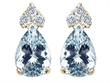 Tommaso Design™ Pear Shape 8x6mm Genuine Aquamarine and Diamond Earrings