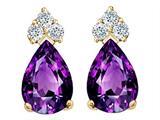 Tommaso Design™ Pear Shape 7x5mm Genuine Amethyst Earrings style: 23814