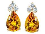 Tommaso Design™ Pear Shape 7x5mm Genuine Citrine Earrings style: 23816
