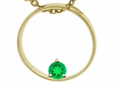 Tommaso Design™ Circle Of Love Round 4mm Genuine Emerald Pendant