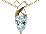 Tommaso Design™ Genuine Pear Shaped Aquamarine Pendant