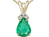 Tommaso Design Pear Shape 8x6mm Genuine Emerald and Diamond Pendant
