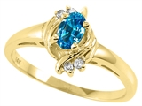 Tommaso Design™ Oval 5x3 mm Genuine Blue Topaz and Diamond Ring