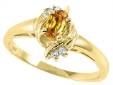 Tommaso Design™ Oval 5x3 mm Genuine Citrine and Diamond Ring