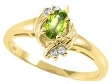 Tommaso Design Oval 5x3 mm Genuine Peridot and Diamond Ring