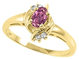 Tommaso Design™ Oval 5x3 mm Genuine Pink Tourmaline and Diamond Ring