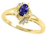Tommaso Design™ Oval 5x3 mm Genuine Iolite and Diamond Ring