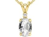 Tommaso Design™ Oval 7x5 mm Genuine White Topaz and Diamond Pendant