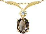 Tommaso Design™ Oval 7x5mm Genuine Smoky Quartz and Diamond Pendant
