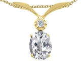 Tommaso Design™ Oval 7x5 mm Genuine White Topaz and Diamond Pendant style: 23984