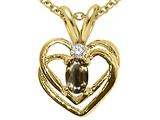 Tommaso Design™ Oval 5x3 mm Genuine Smoky Quartz and Diamond Heart Pendant