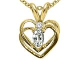 Tommaso Design™ Oval 5x3 mm Genuine White Topaz and Diamond Heart Pendant