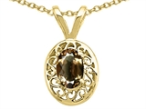 Tommaso Design™ Oval 6x4mm Genuine Smoky Quartz Pendant