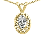 Tommaso Design™ Oval 6x4mm Genuine White Topaz Pendant