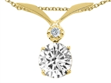 Tommaso Design™ Round 7mm Genuine White Topaz and Diamond Pendant style: 23991