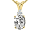 Tommaso Design™ Oval 10x8mm Genuine White Topaz and Diamond Pendant