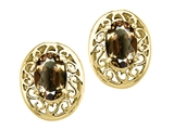 Tommaso Design™ Oval 6x4mm Genuine Smoky Quartz Earrings