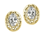 Tommaso Design™ Oval 6x4mm Genuine White Topaz Earrings style: 24042