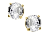 Tommaso Design Round 6 mm Genuine White Topaz Earrings Studs